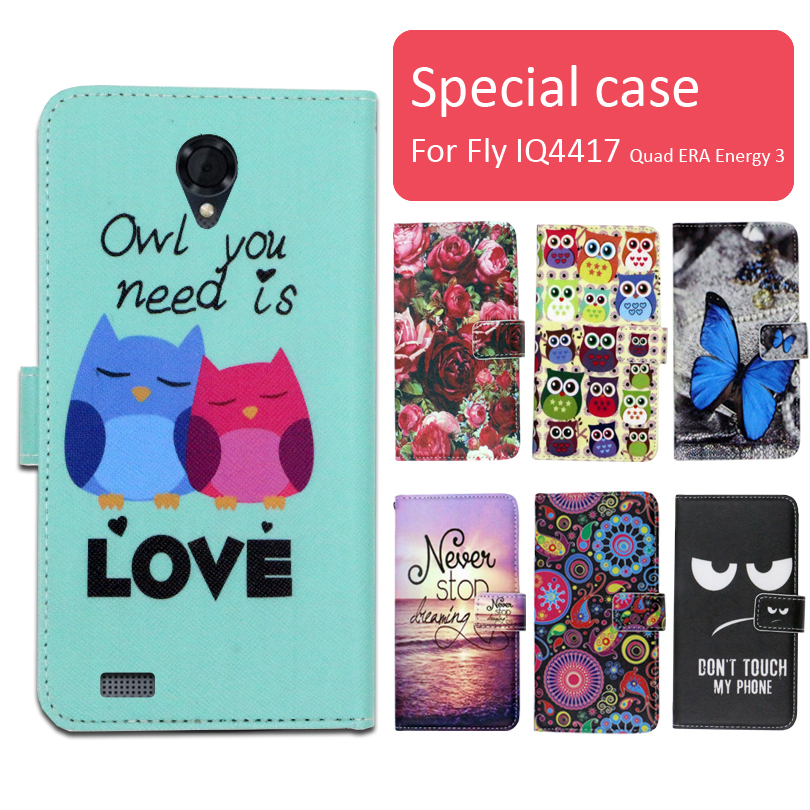 Fashion cartoon printed flip wallet leather case for Fly IQ4417 Quad ERA Energy 3 phone bag book case,free gift