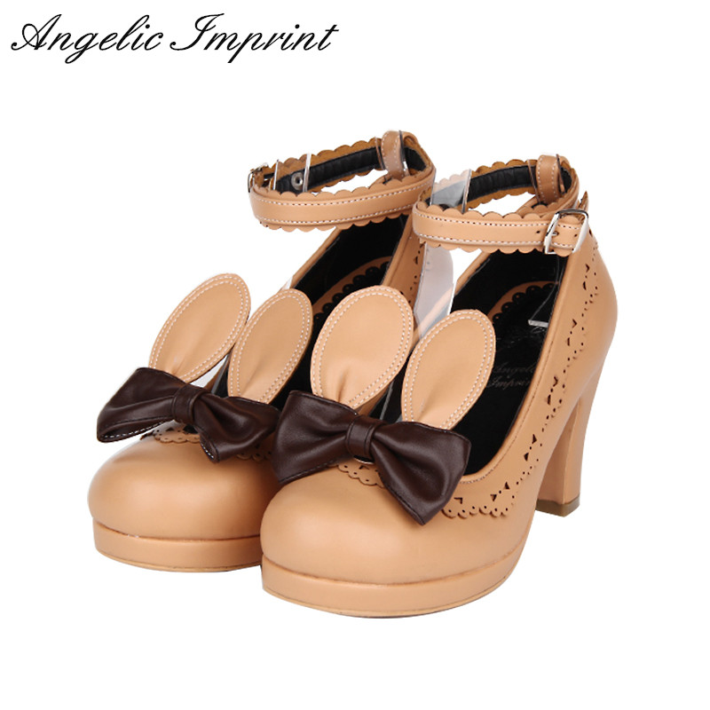 Japanese Style Kawaii Rabbit Era Sweet Lolita Cosplay Shoes Girls Chunky High Heel Ankle Shoes with Lace Trim