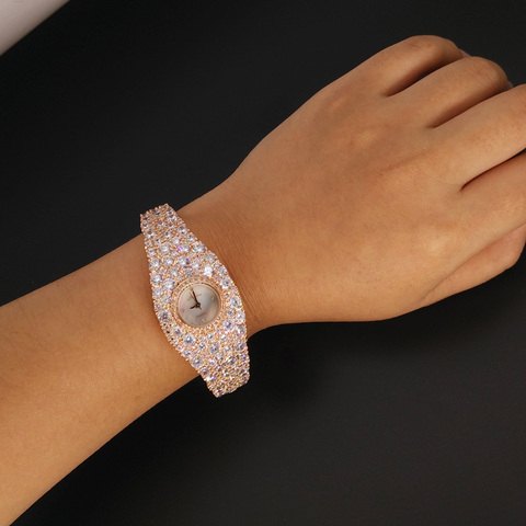 Extravagant Full Crystals Jewelry Watch for Women Elegant Party Dress Watch Bangle Bracelet Wristwatch Quartz Montre Femme F8016 Islamabad