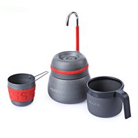 350ml outdoor camping tableware picnic coffee pot with cups can be used to burn the stove aluminum alloy coffee machine cocoa