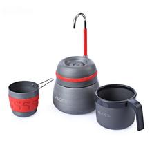 350ml חיצוני קמפינג כלי שולחן פיקניק קפה סיר עם כוסות יכול לשמש כדי לשרוף את תנור אלומיניום סגסוגת קפה מכונה קקאו