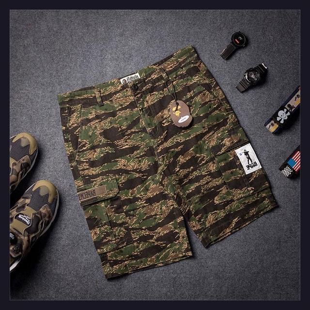 0982caff62b1 2015 summer new Europe brand bape shorts hip hop camouflage Shark mouth  eyes print men fashion cotton Casual Fifth Shorts