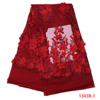 New Fashion African Lace Fabric Red French 3d Cord Lace Fabric Mesh Embroidered Nigerian Women Party