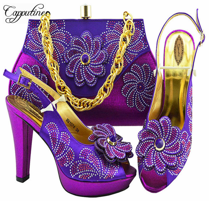 Capputine Nigerian Elegant Woman Shoes And Bag Sets African Style Woman High Heels Shoes And Bag Set For Party Dress 6Colors capputine european style elegant rhinestone shoes and bags set african style woman high heels shoes and bags for wedding party