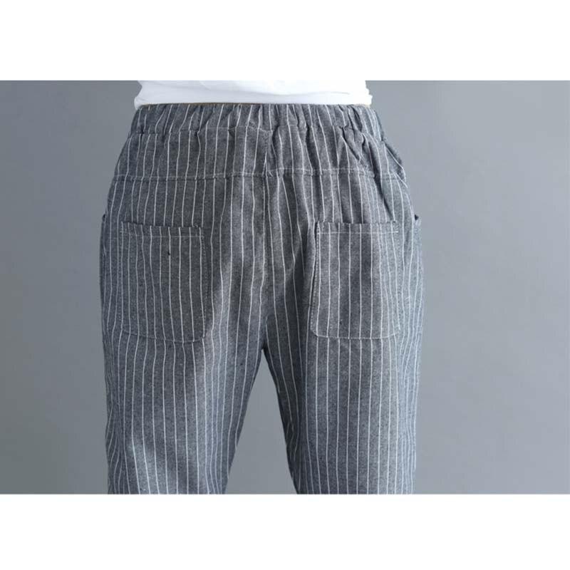 New Thin Cotton Linen Harem Pants Women Summer Autumn Plus Size Striped Pant Female Elastic Waist Ankle-Length Leggings 4XL M289 5