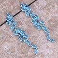 Wholesale ! Sky Blue Created Topaz 925 Sterling Silver  Drop Dangle Earrings For Women  S0200