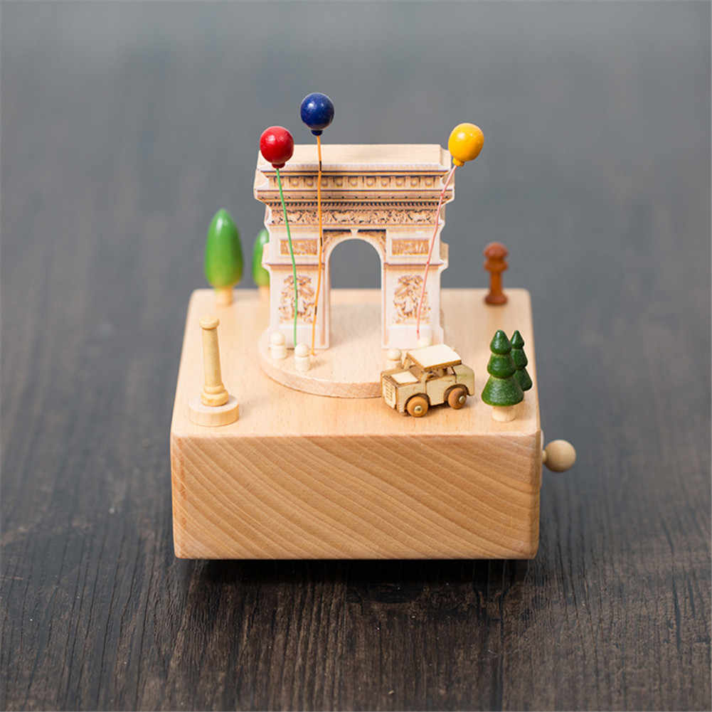 Cute Wooden Musical Box with Solid Base Home Office Engraving Musical Box Decor P7Ding