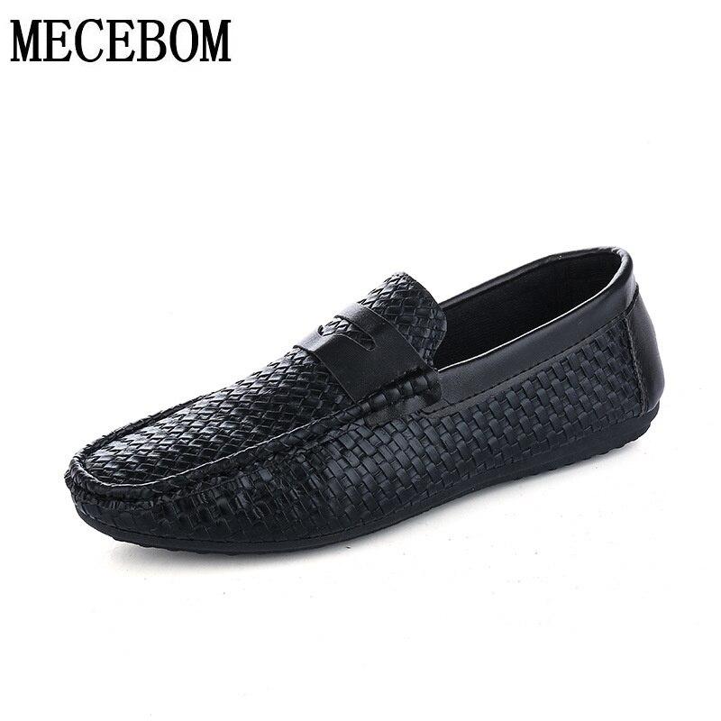 Los hombres de moda zapatos casuales negro blanco pu zapatos slip-on de los holg