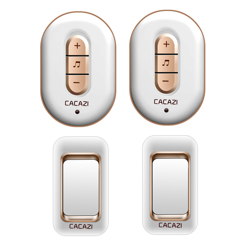 CACAZI AC 110-220V waterproof smart 300M remote wireless doorbell 2 transmitters+2 receivers 48 melodies 6 volume door chime cacazi a9 3 ac 75 250v wireless doorbell 1 waterproof button 3 receivers 52 ringtones 4 volume 300m remote electronic doorbell
