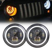 7 Inch 45 W Ronde LED Halo Koplamp Kit Met LED Chips DRL Angel Eye H4