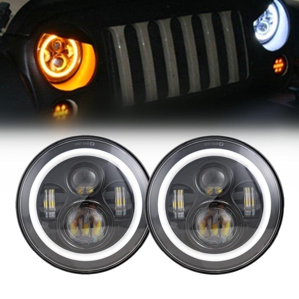 7 Zoll 45 Watt Ronde LED Halo Koplamp Kit Erfüllt LED Chips DRL Engel auge H4 H13 Hallo/Lo voor für Jeep JK 2009 2015 TJ YJ Hummer 1 satz