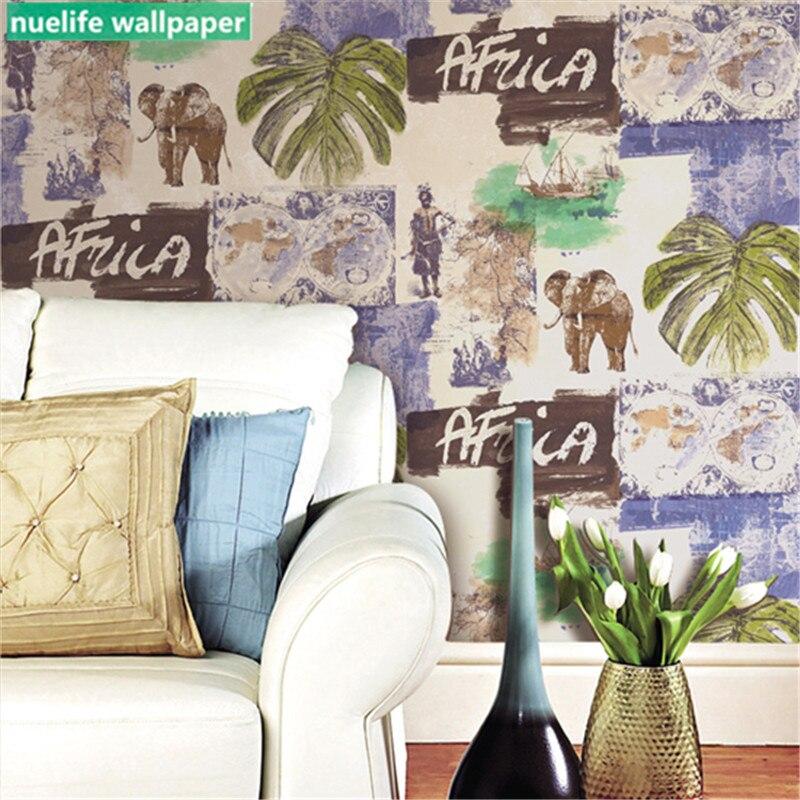 Sud-est asiatique style exotique éléphant feuille de banane motif papier peint salle de mariage chambre salon TV fond d'écran