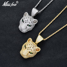 Missfox Hip Hop Style Leopard Head Pendant Necklace Shiny Animal Zodiac Jewelry Necklace Copper Unique Personality Charms Chain(China)