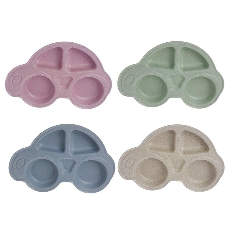 NoEnName-Null Cartoon Car Baby Feeding Dinnerware Wheat Straw Tableware for Kids Dishes ECO-friendly Children Plates