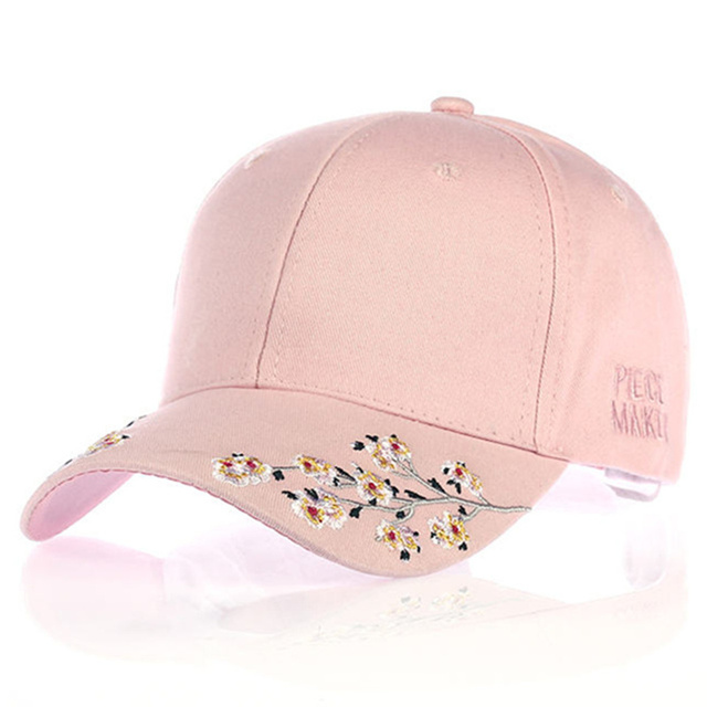 417dac1b040acf VORON new Cherry blossoms Baseball Cap Women Adjustable Cotton Hat Flower  Embroidery Black Pink White dad Caps For Womens Hot 20