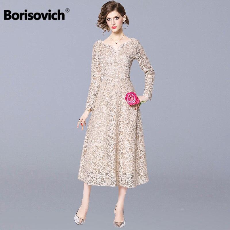 Borisovich Women Casual Lace Long Dress New Brand 2019 Spring Fashion V neck Big Swing A