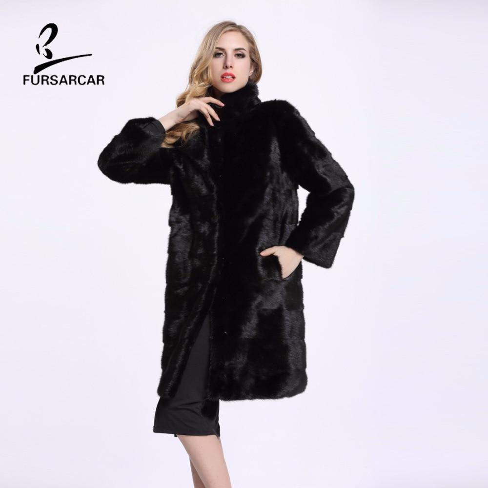 FURSARCAR 2019 Nuevo abrigo de piel de visón negro real X-Long Mujer - Ropa de mujer