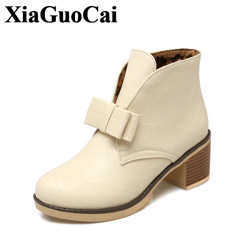 Fashion High Heel Shoes Women Boots In Ankle Boots with Butterfly-knot Thick Heel Round Toe Solid Color Student Shoes H424 35 qiu dong in fashionable boots sexy and comfortable women s shoes the new national style high heel heel thick heel