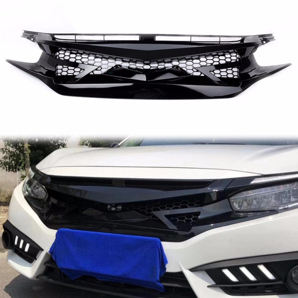 Automobile Exterior Tuning Racing Grills For Honda Civic 2016 ABS Grille Fit For Civic 2017 Front