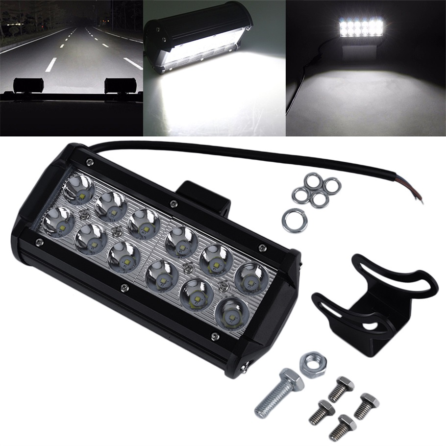 12v/24v Waterproof 7 inches 36W Off road Work Light Flood LED Offroad Driving interior Light for Auto Car SUV Truck Boat 6000K