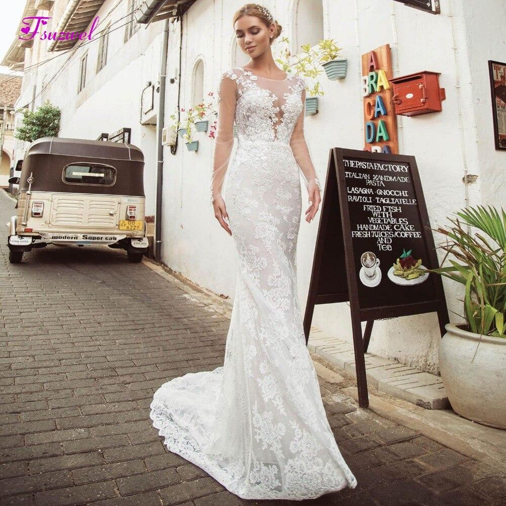 Sheath Wedding Dresses 2019: Fsuzwel New Arrival O Neck Long Sleeve Sheath Wedding