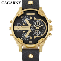 Cagarny Men S Watches Men Fashion Quartz Wristwatches Cool Big Watch Leather Bracelet 2 Times Military