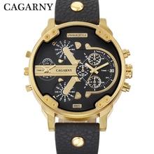 Cagarny Men's Watches Men Fashion Quartz Wristwatches Cool Big Watch Leather Bracelet 2 Times Military Relogio Masculino D6820