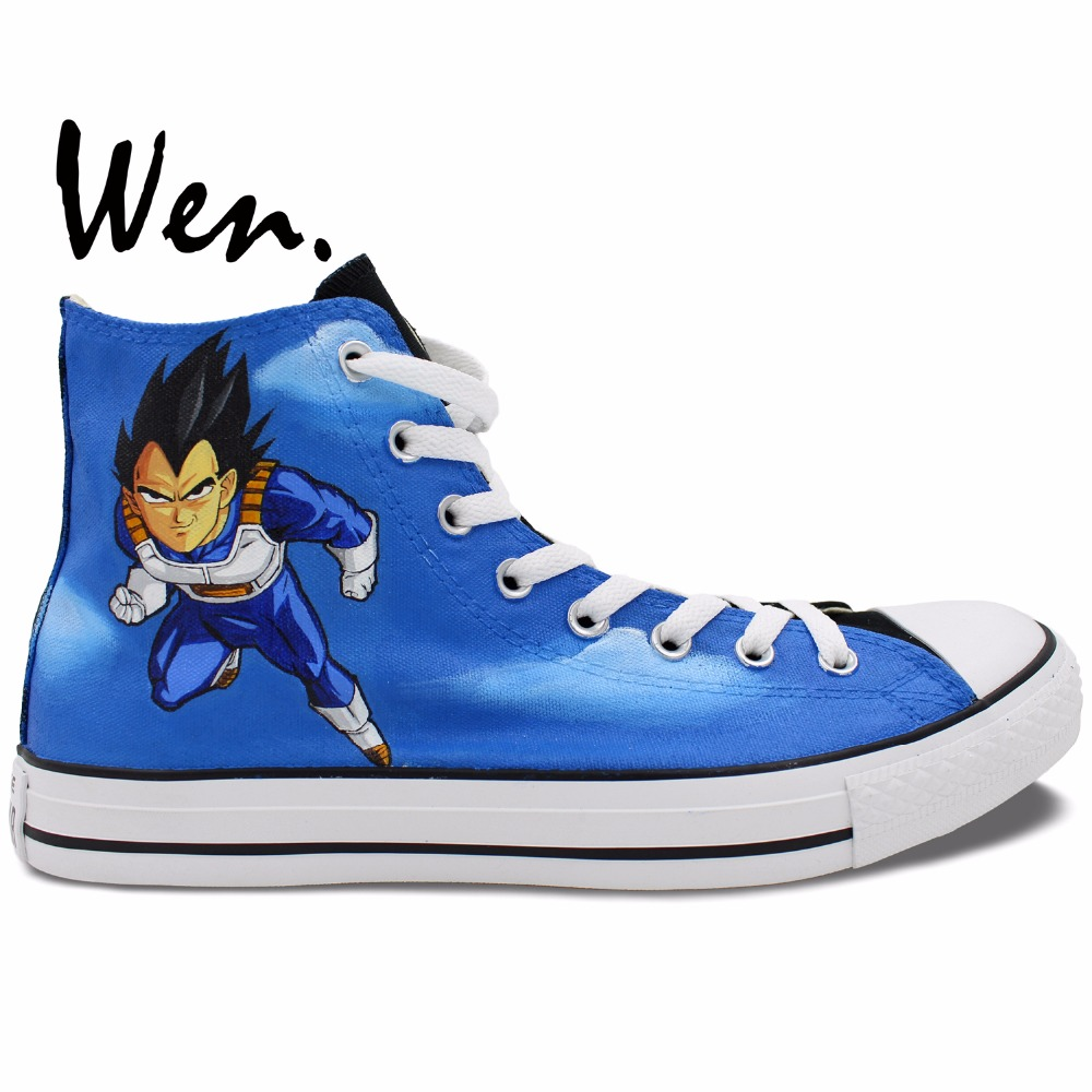 ФОТО Wen Blue Hand Painted Shoes Anime Dragon Ball Z Vageta Goku High Top Men Women's Canvas Sneakers Christmas Gifts for Boys