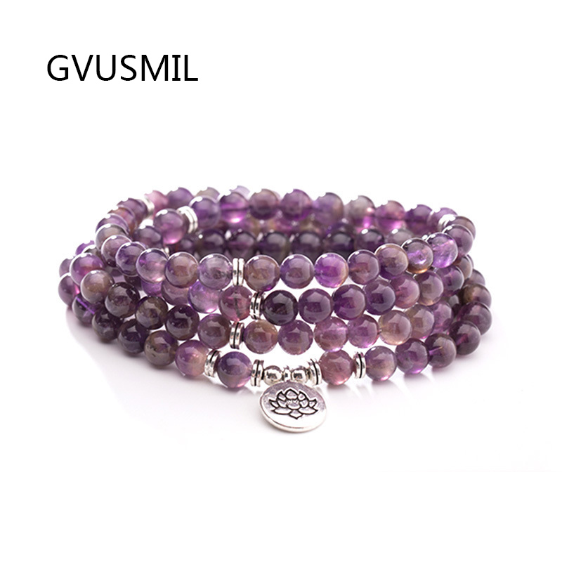 New Design  Beads Bracelet High Quality Purple Stone or Necklace Trendy Jewelry For Men Women