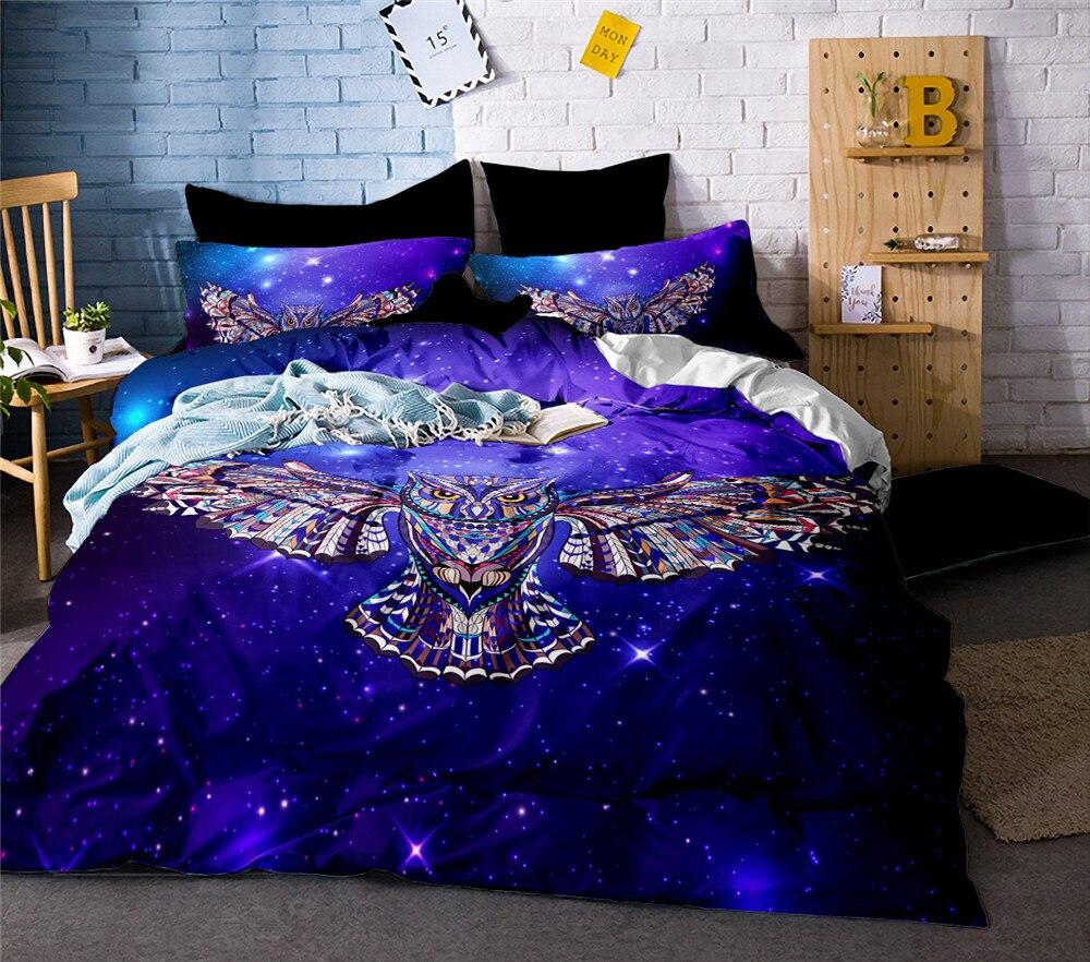 3D Owl Printed Bed Linen Bedding Set Comforter Cover Quilt Duvet Queen King Size Double Single Black Sheets