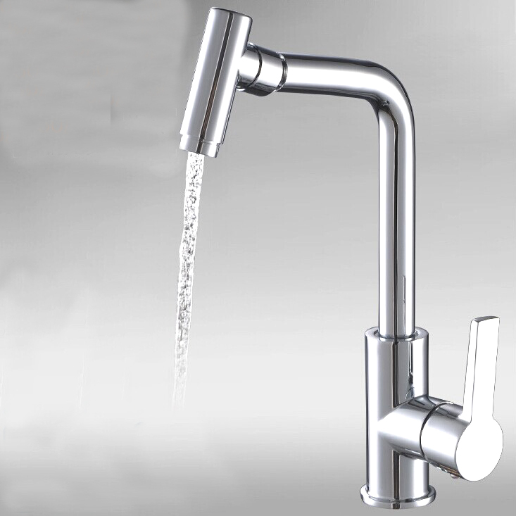 L15087 Luxury Brass Kitchen Faucet Hot and Cold Water Mixer Deck Mounted Silver Color Sink Tap