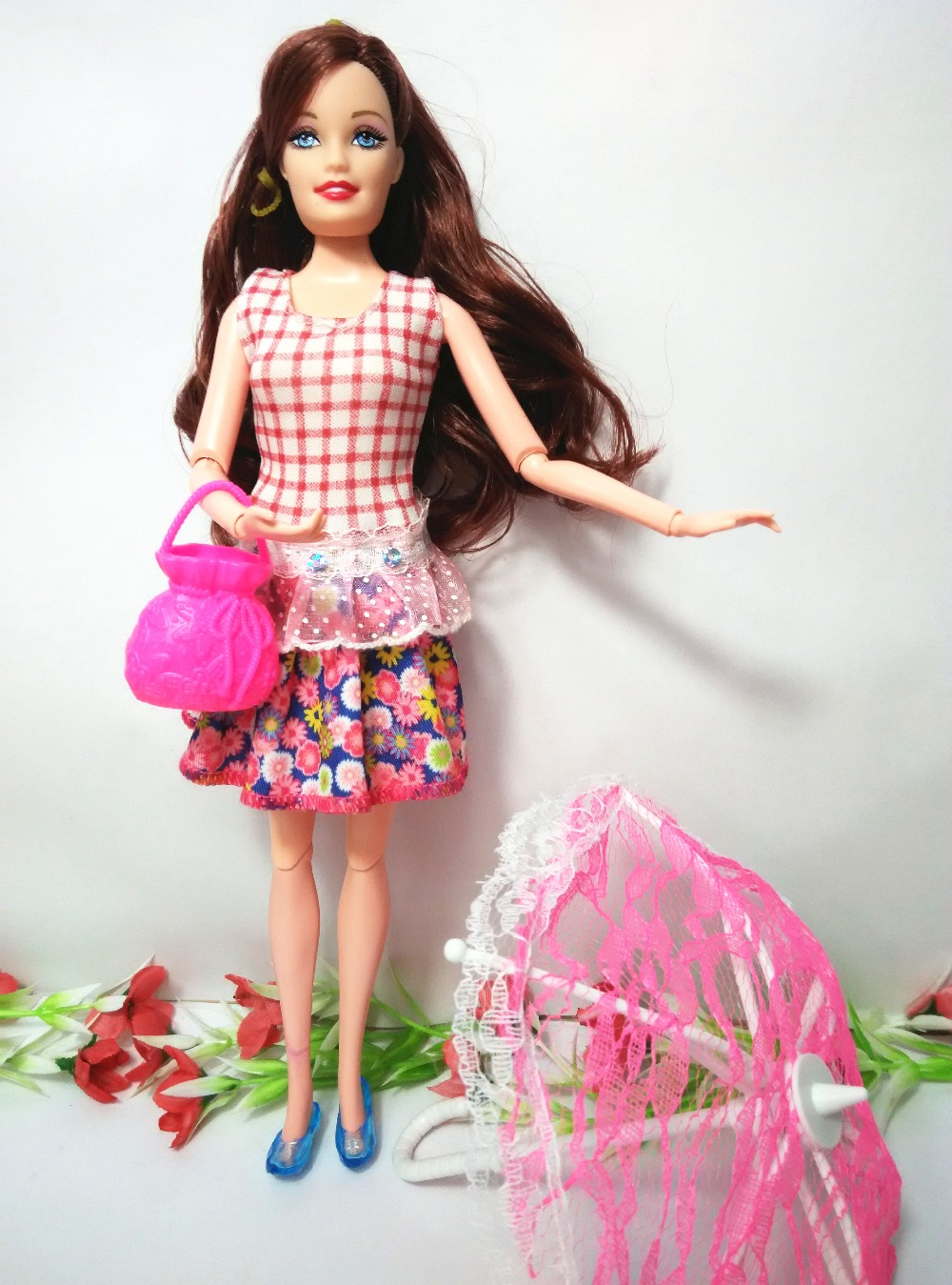 (Style Doll + bag + Toy umbrella) Dolls Mannequin Fashion Moveable Joint Physique Traditional Toys Greatest Reward Equipment For Barbie,YF-01