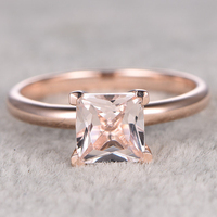 6 5mm Princess Morganite Engagement Ring Rose Gold Solitaire Wedding Band 14k Pink Gemstone Promise Ring
