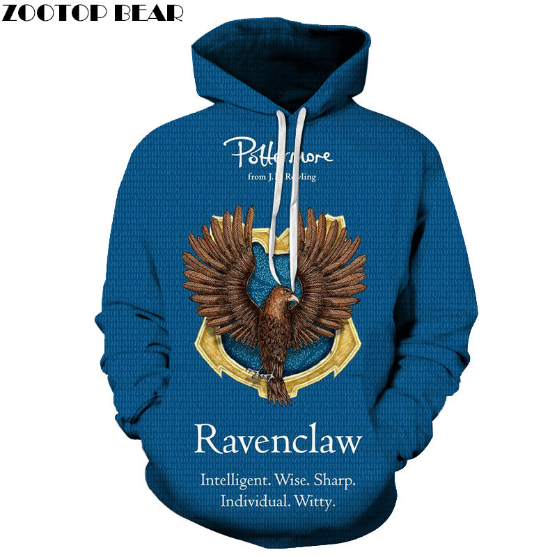 RAVENCLAW Men Blue Hoodies 3D Print Animal Game NEW Brand Casual Sweatshirts Movie Streetwears Fashion Long Sleeve ZOOTOP BEAR