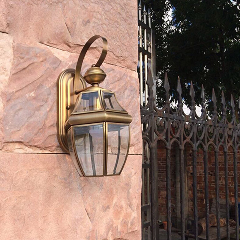European Retro Copper E27 AC LED Wall Lamp Outdoor Indoor Balcony Garden  Yard Living Room Bedroom Lamp Lighting Fixture