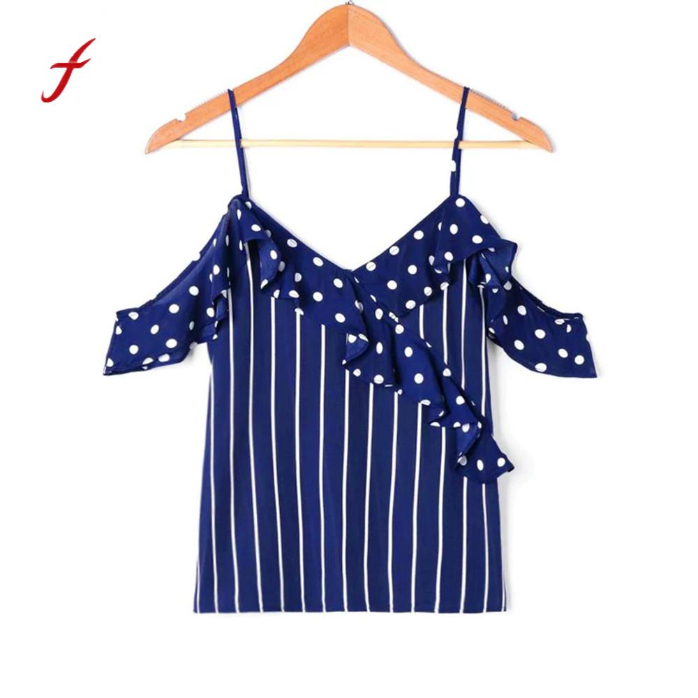Women Dot Strappy Summer Vest Casual Linen Off Shoulder Sexy Ruffles Tank Top Blusa Butterfly Sleeve V-Neck cropped top 0120