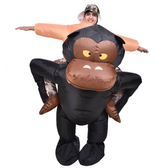 5e1bcf112 placeholder Funny Adult Inflatable Riding Gorilla Costume with Funky Hat  King Kong Halloween Carnival Purim Cosplay Suits