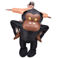 Funny Adult Inflatable Riding Gorilla Costume with Funky Hat King Kong Halloween Carnival Purim Cosplay Suits Illusion Outfits