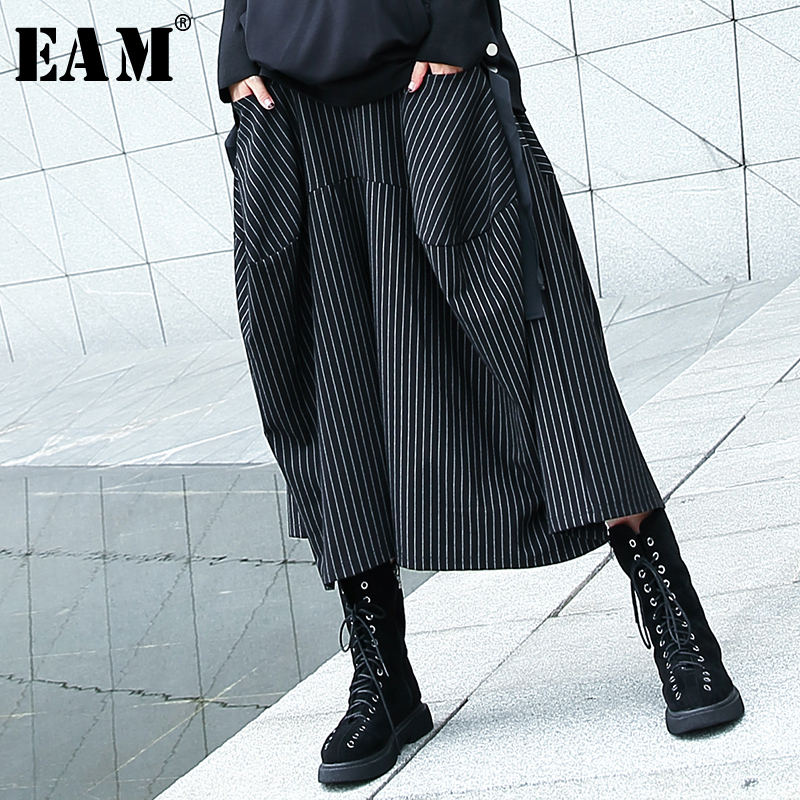 [EAM] 2019 New Autumn Winter High Elastic Waist Black Striped Big Pocket Stitching Wide Leg Pants Women Trousers Fashion JH787