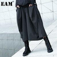 [EAM] 2019 New Spring Winter High Elastic Waist Black Striped Big Pocket Stitching Wide Leg Pants Women Trousers Fashion JH787