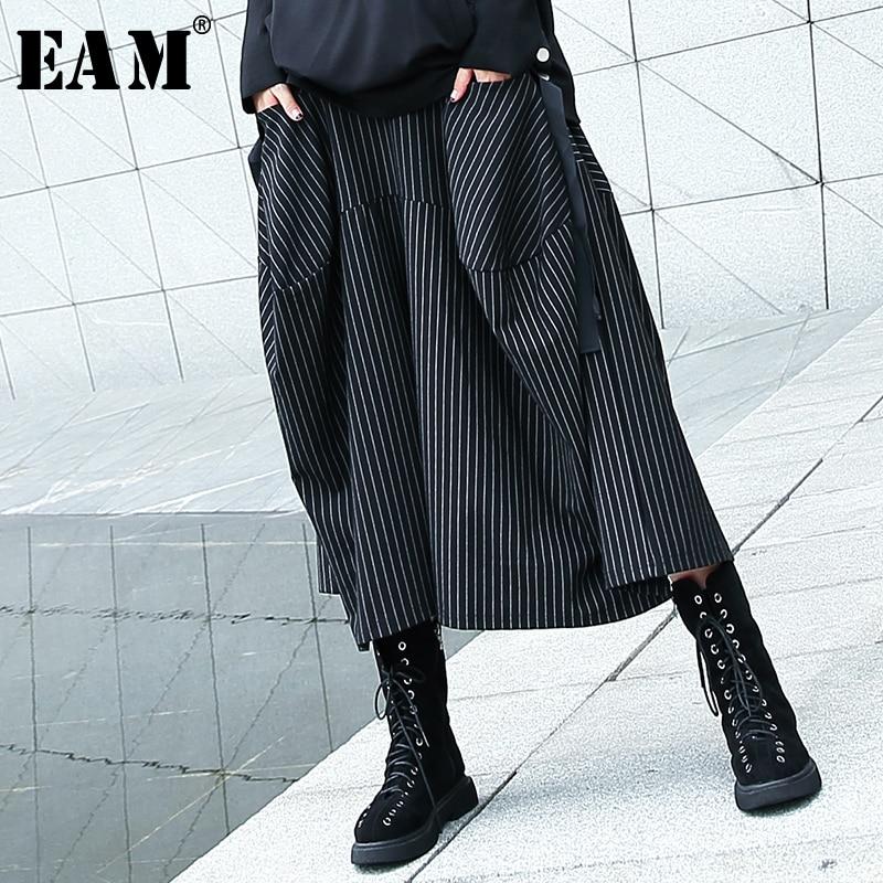 [EAM] 2020 New Spring Autumn High Elastic Waist Black Striped Big Pocket Stitching Wide Leg Pants Women Trousers Fashion JH787