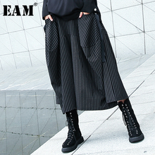 [EAM] 2020 חדש אביב סתיו גבוהה אלסטי מותניים שחור פסים גדול כיס תפרים רחב רגל מכנסיים נשים מכנסיים אופנה JH787