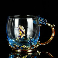Blue Rose Enamel Crystal Cup Flower Tea Glass High Grade Glass Water Cup Flower Mug Handle