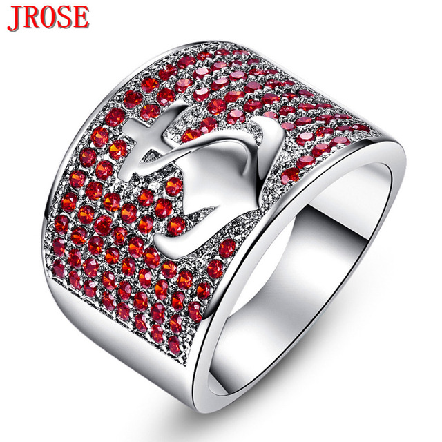 Jrose Wedding Band Anchor Fashion Jewelry White Gold Color Garnet Purple Ring Size 6 7