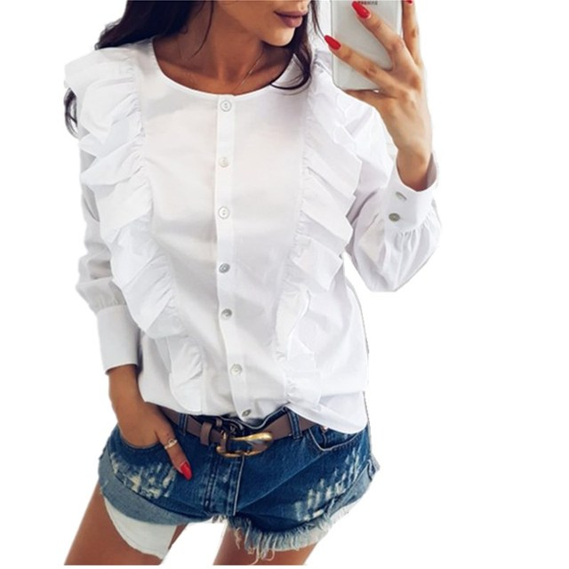 Lossky 2018 весна женские Модные оборками Блузка Повседневное круглым вырезом длинный рукав; пуговицы вниз рубашки в синюю полоску верхняя одежда для офиса