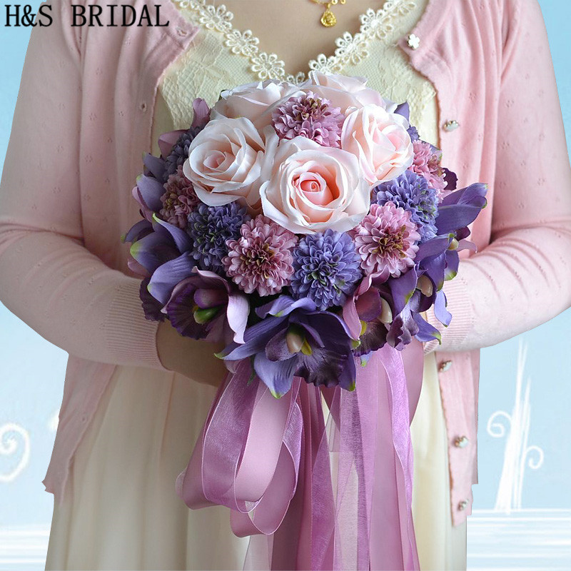 Beautiful Purple Pink Color Bridal Bridesmaid Flower wedding bouquet artificial flower rose bridal bouquets