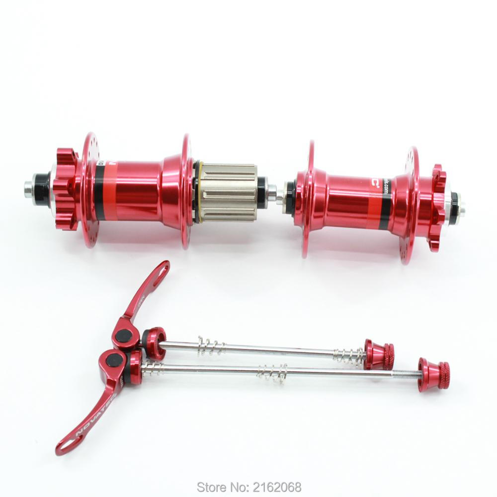 SALE! New red black NOVATEC 041-042/711-712 Mountain bike aluminum alloy 6 bearing bicycle hubs with skewers MTB parts Free ship