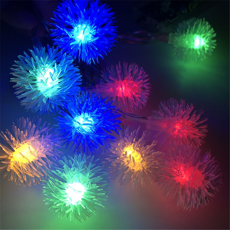 Flakes 2M 4M 10M Holiday Hairball Snowball LED String  AA Battery Event Party Decoration Lightings LED De Vacaciones Luces