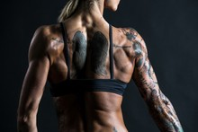 woman back tattoos physical activity muscles YR339 living room home wall modern art decor wood frame poster