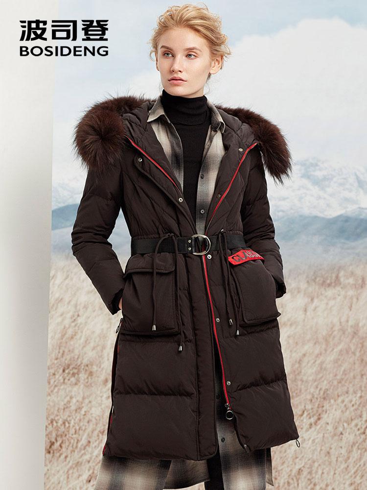 BOSIDENG women winter duck down coat long down jacket hooded natural fur collar parka adjustable waist